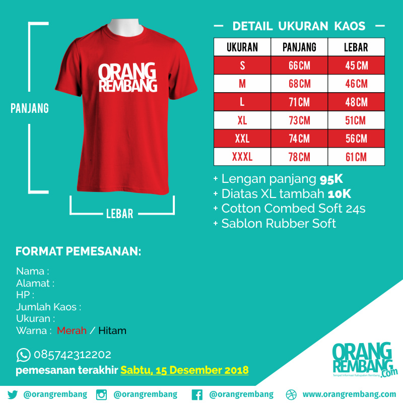Pre Order Kaos Orang Rembang #3